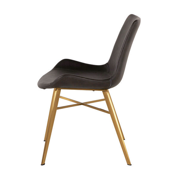 Hines Charcoal Brown and Gold Dining Chair, image 4