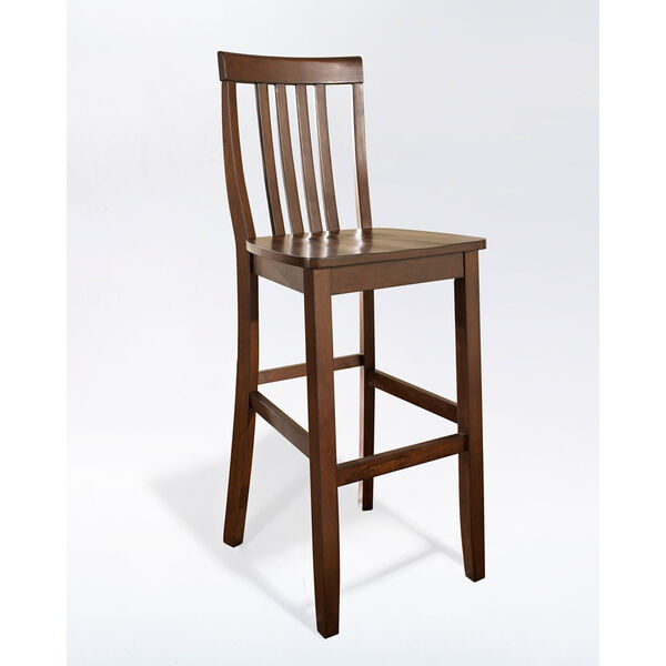 School House Bar Stool in Mahogany Finish with 30 Inch Seat Height- Set of Two, image 1