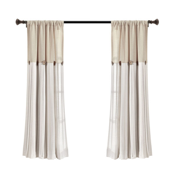 Linen Button Beige and Off White 40 x 63 In. Single Window Curtain Panel, image 6