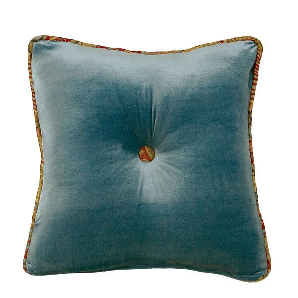 San Angelo Teal Velvet 18 x 18 In. Tufted Throw Pillow, image 1