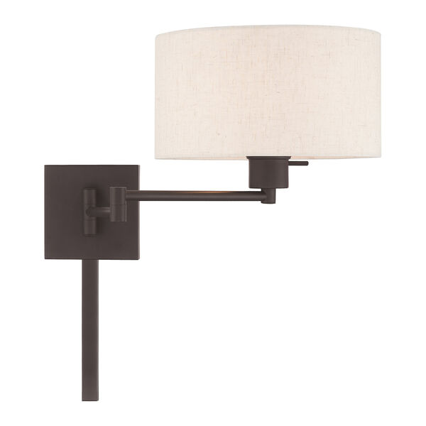 Swing Arm Wall Lamps Bronze 11-Inch One-Light Swing Arm Wall Lamp with Hand Crafted Oatmeal Hardback Shade, image 5