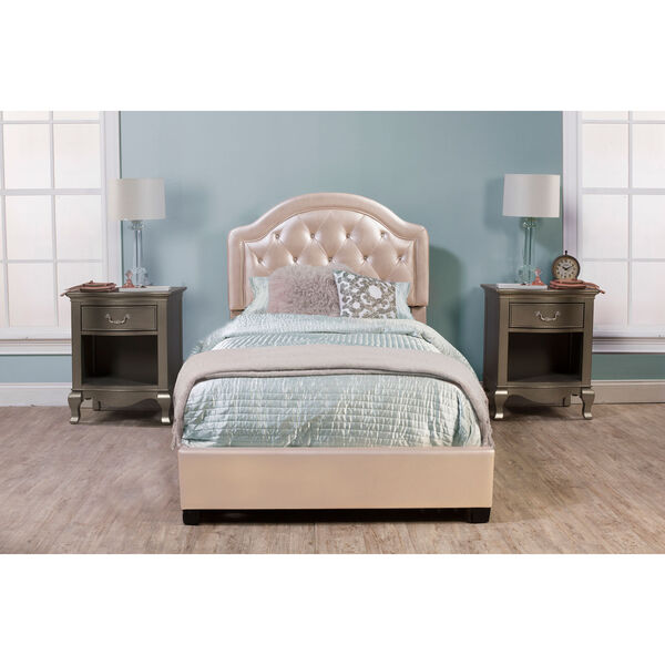 Karley Bed Set - Full - Rails Included - Champagne Faux Leather, image 1