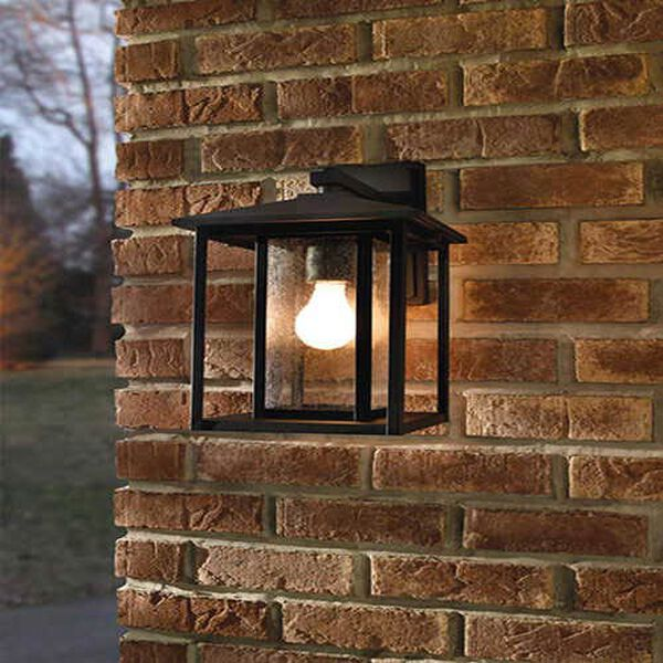 Hunnington Black 7-Inch Wide One-Light Outdoor Wall Lantern with Clear Seeded Glass, image 2