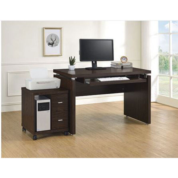 Peel Brown Computer Desk with Keyboard Tray, image 6