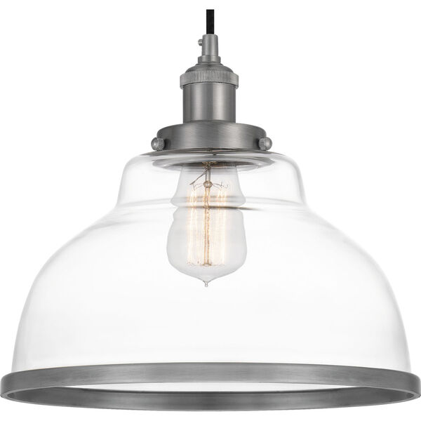 Leo Antique Nickel 12-Inch One-Light Pendant with Clear Glass, image 3