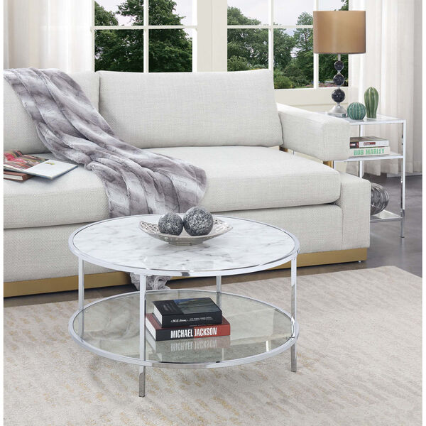 Gold Coast White Faux Marble Chrome MDF Round Coffee Table, image 3