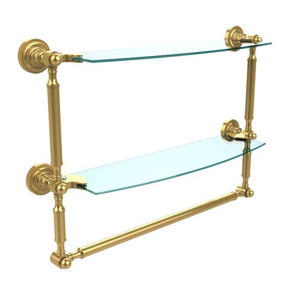 Polished Brass Double Shelf with Towel Bar, image 1