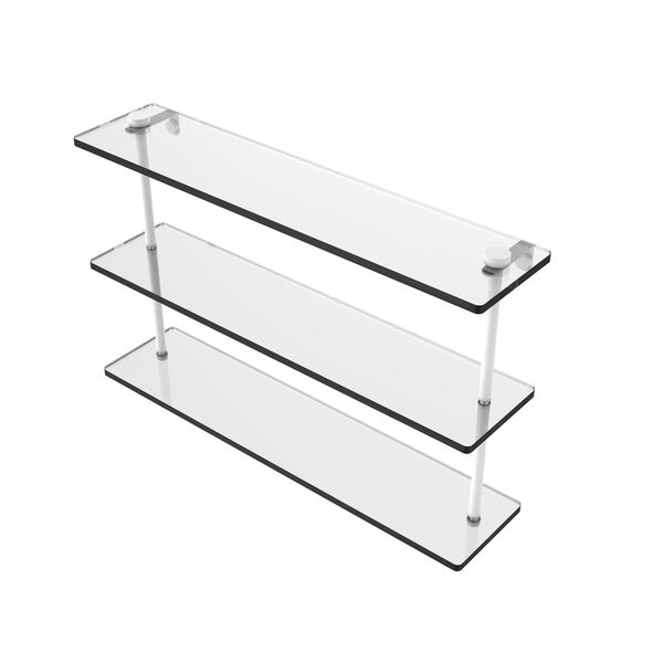 Matte White 22-Inch Triple Tiered Glass Shelf, image 1
