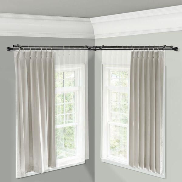 Christiano Black 84-Inch Corner Window Double Curtain Rod, image 2