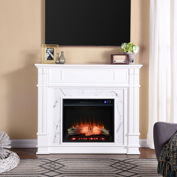 Highgate White Faux Cararra Marble Electric Media Fireplace, image 1
