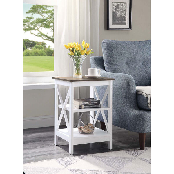 Oxford Driftwood White End Table, image 2