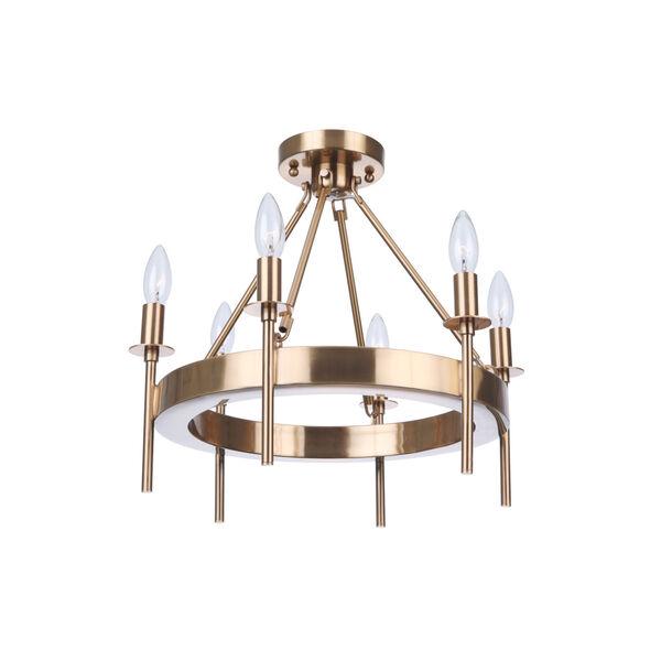 Larrson Satin Brass Six-Light Semi Flush, image 2