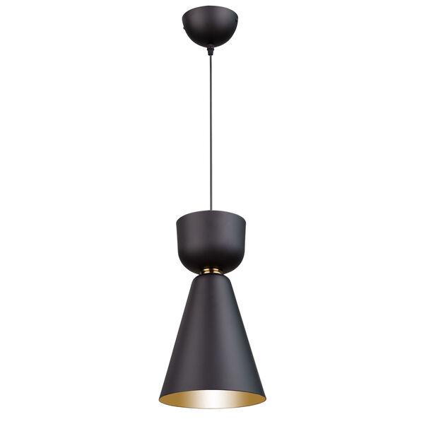 Tempo Matte Black and Brass Eight-Inch One-Light Mini Pendant, image 1