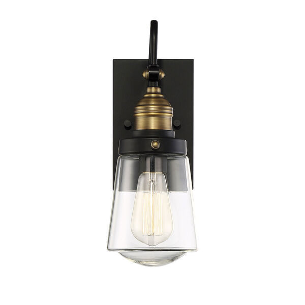 Afton Vintage Black with Warm Brass One-Light Outdoor Wall Sconce, image 1