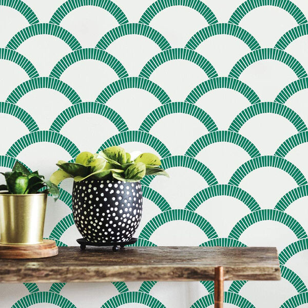 Mosaic Scallop Emerald 28 Sq. Ft. Peel and Stick Wallpaper, image 1