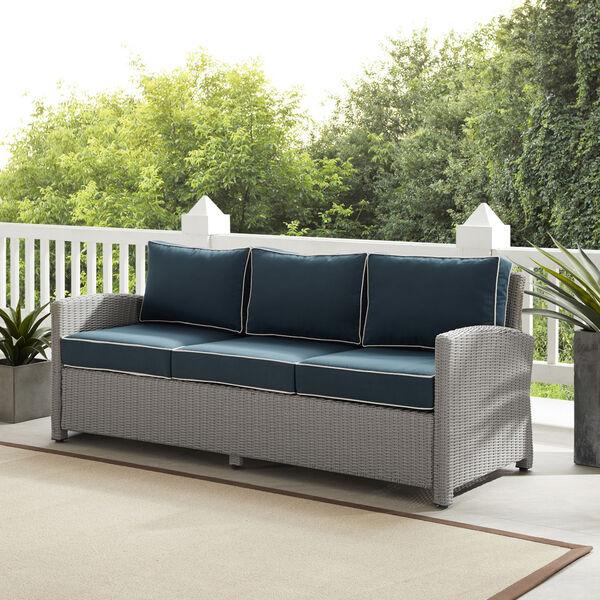 Bradenton Gray and Navy Outdoor Wicker Sofa, image 2