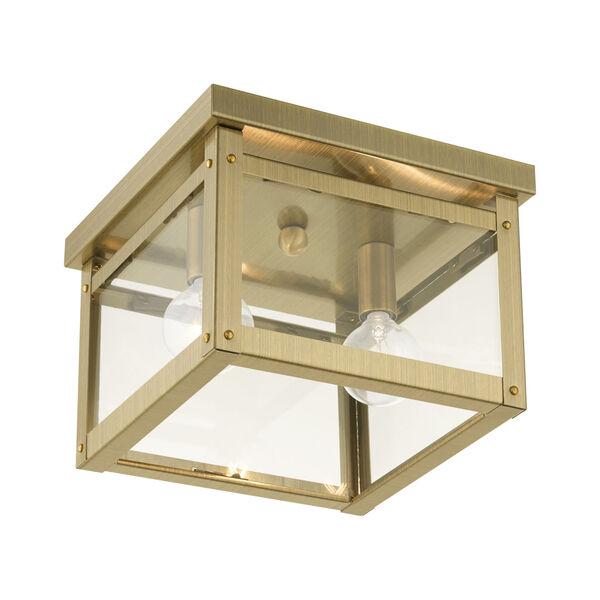 Milford Antique Brass Two-Light Flush Mount, image 4