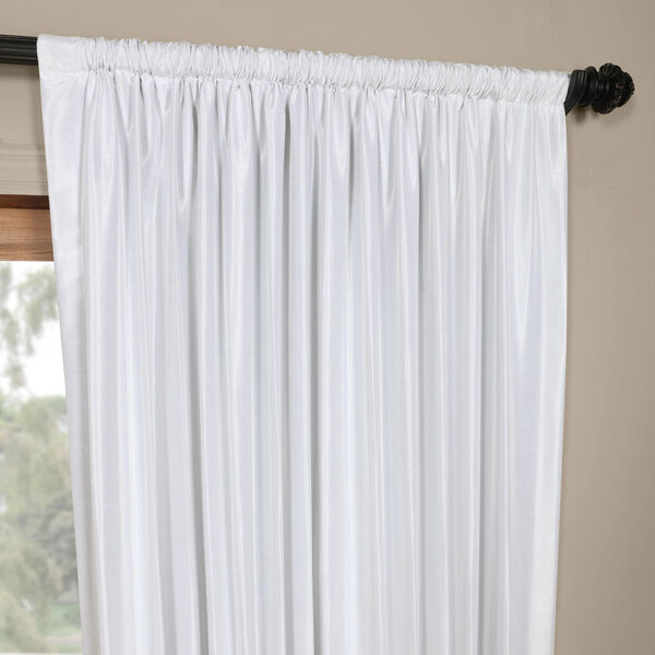 White Ice 96 x 100 In. Double Wide Vintage Textured Faux Dupioni Curtain Single Panel, image 3