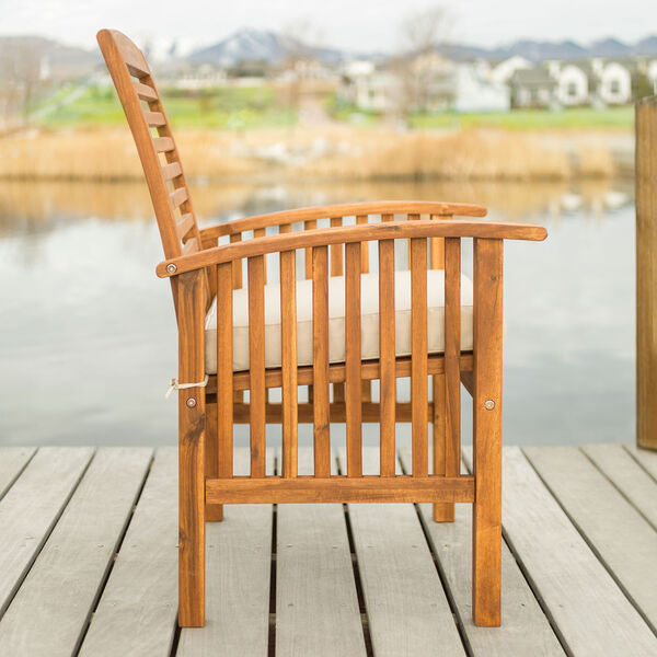 Brown Acacia Patio Chairs with Cushions (Set of 2), image 3