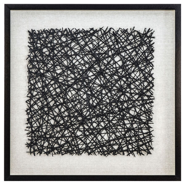 Black and White 32-Inch Thread Lightly Wall Art, image 1