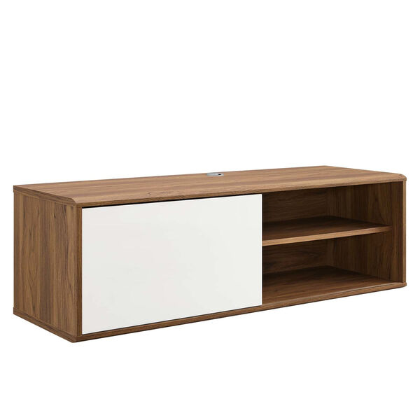 Uptown Walnut and White 46-Inch Wall Mount TV Stand, image 1