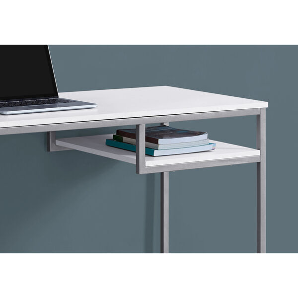 White and Silver 22-Inch Computer Desk with Open Shelf, image 3