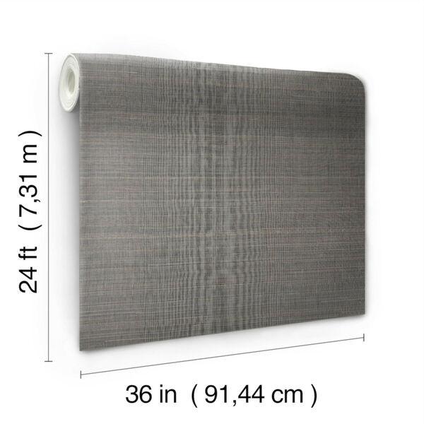 Antonina Vella Elegant Earth Charcoal Abaca Weaves Wallpaper, image 3