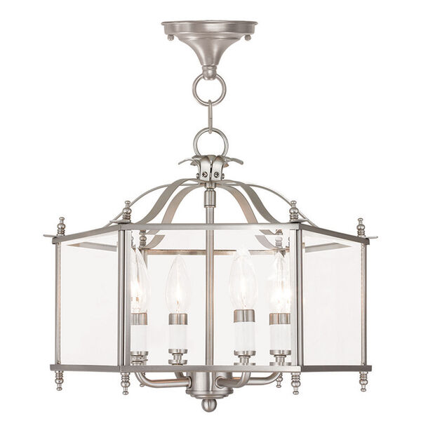 Livingston Brushed Nickel 15.5-Inch Four-Light Convertible Pendant with Clear Beveled Glass, image 1