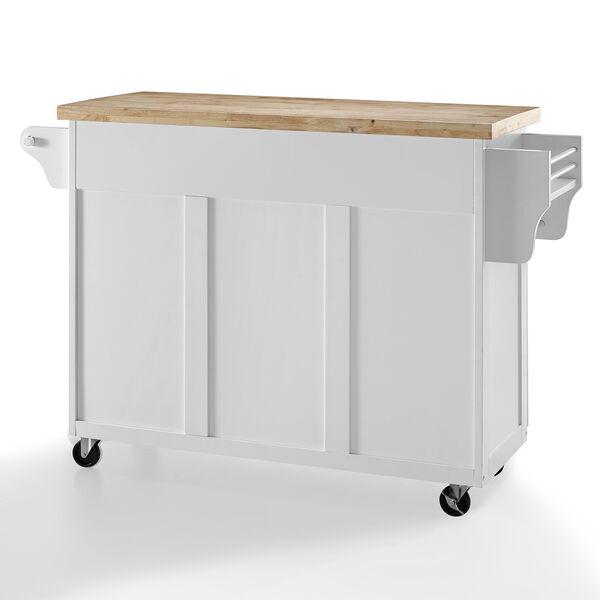 Elliot White MDF and Birch Veneer Kitchen Cart, image 3