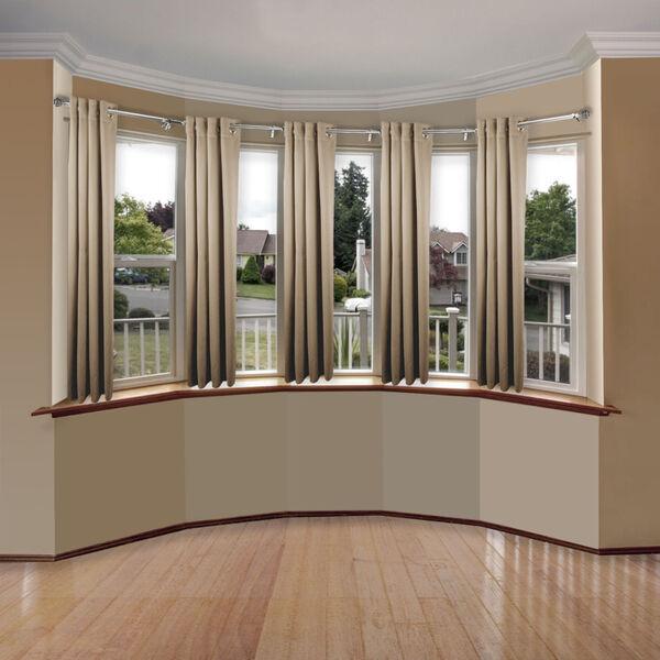 Eleanor Satin Nickel Five-Sided Bay Window Curtain Rod, image 2