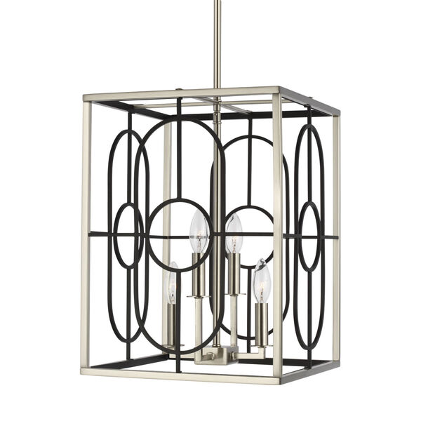 Rennie Brushed Nickel Four-Light Small Pendant, image 2