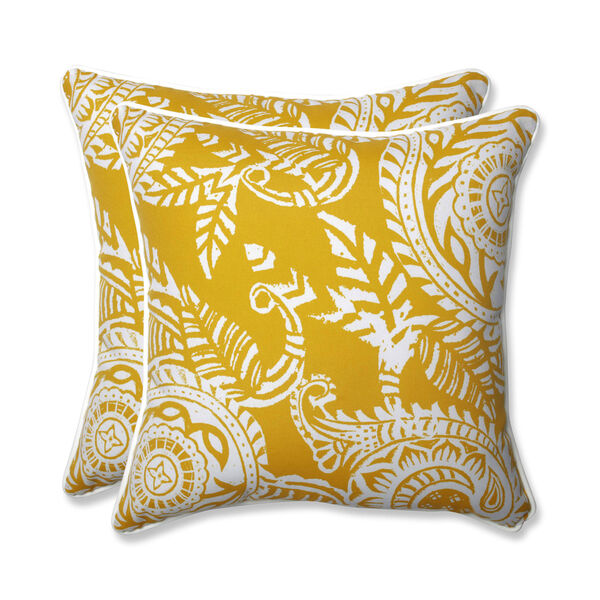 Outdoor / Indoor Addie Egg Yolk 18.5-Inch Throw Pillow (Set of 2), image 1