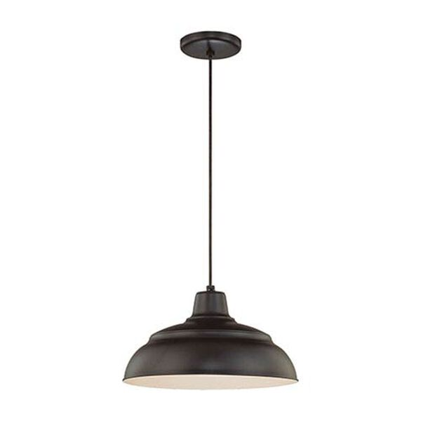 R Series Satin Black 14-Inch Warehouse Cord Hung Outdoor Pendant, image 1