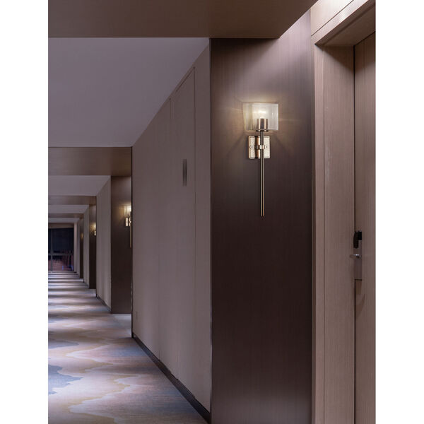 Spruce Brushed Brass ADA One-Light Wall Sconce with Seeded Glass Shade, image 2