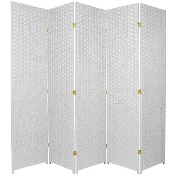 Six Ft. Tall Woven Fiber Room Divider Five Panel White, Width - 85 Inches, image 1