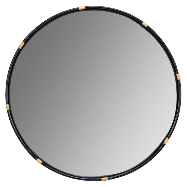 Evan Black and Natural Rattan 35-Inch x 35-Inch Wall Mirror, image 2
