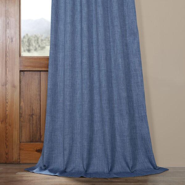 Blue Denim 96 x 50 In. Faux Linen Blackout Curtain Single Panel, image 5