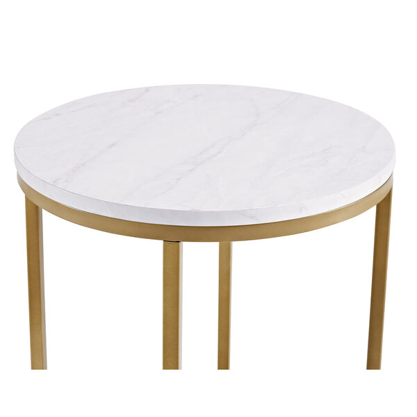 16-Inch Round Side Table - Marble/Gold, image 5