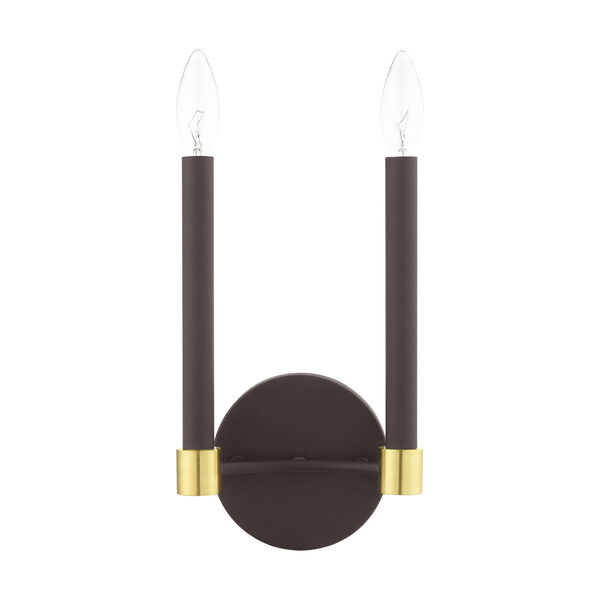 Karlstad Bronze and Satin Brass Two-Light  Wall Sconce, image 2
