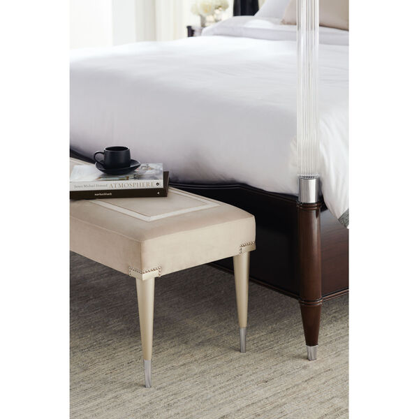 Caracole Classic Soft Silver Paint and Beige Boarding on Beautiful Bench, image 5