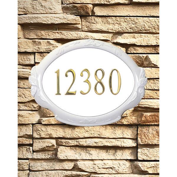 Floral White Address Plaque, image 1