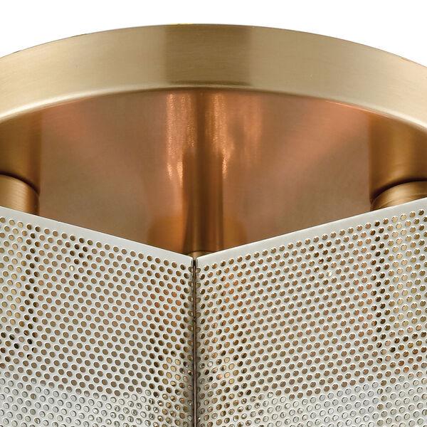 Compartir Polished Nickel and Satin Brass Three-Light Semi-Flush Mount, image 4