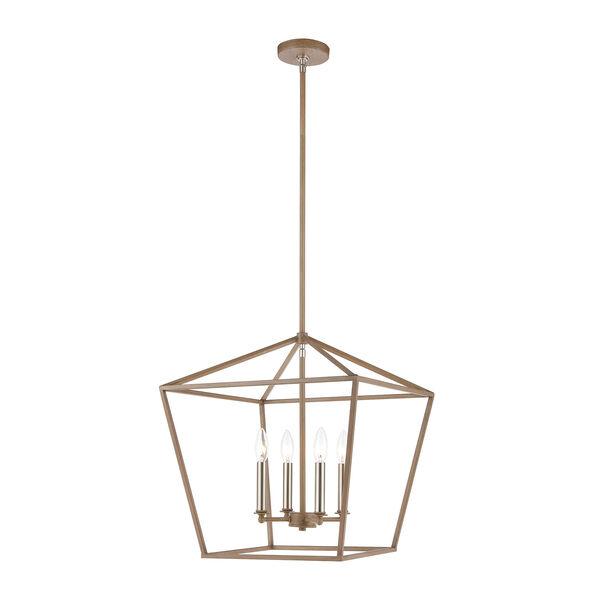 Fairfax Light Wood and Satin Nickel Four-Light Pendant, image 1
