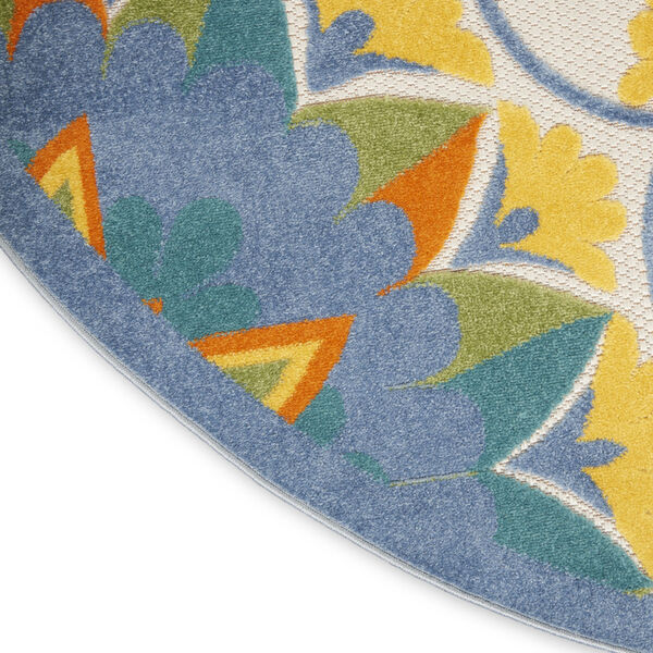 Aloha Blue and Yellow 4 Ft. x 4 Ft. Round Indoor/Outdoor Area Rug, image 5