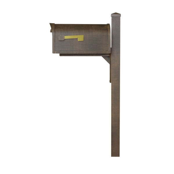 Classic Curbside Mailbox Copper Mailbox with Locking Insert and Wellington Direct Burial Mailbox Post Smooth, image 3