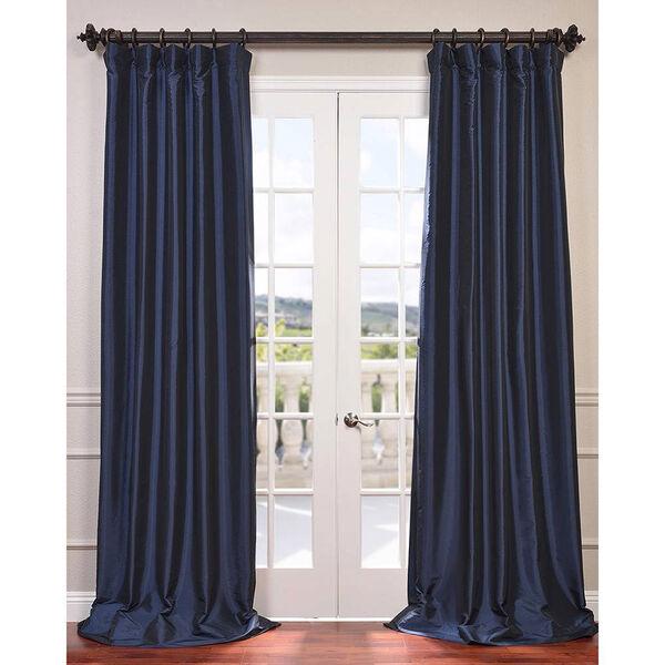 Navy Blue 84 x 50-Inch Blackout Faux Silk Taffeta Curtain Single Panel, image 1