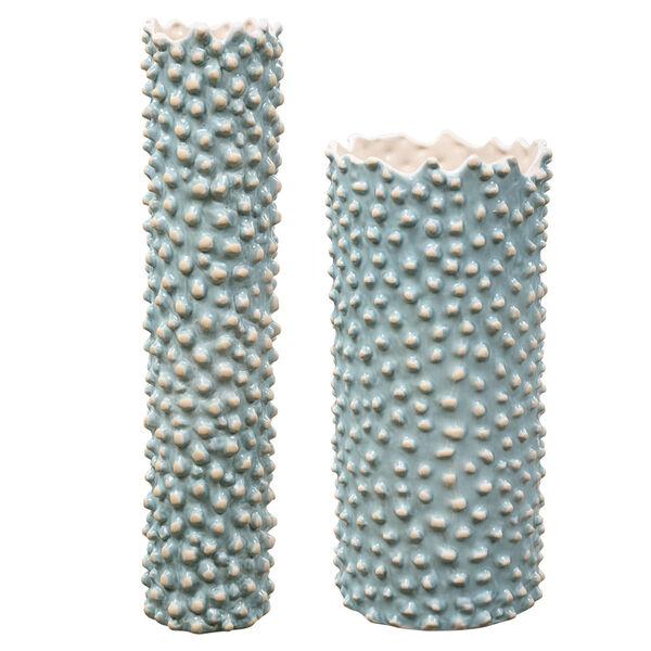 Ciji Aqua Ceramic Vases, Set of 2, image 1