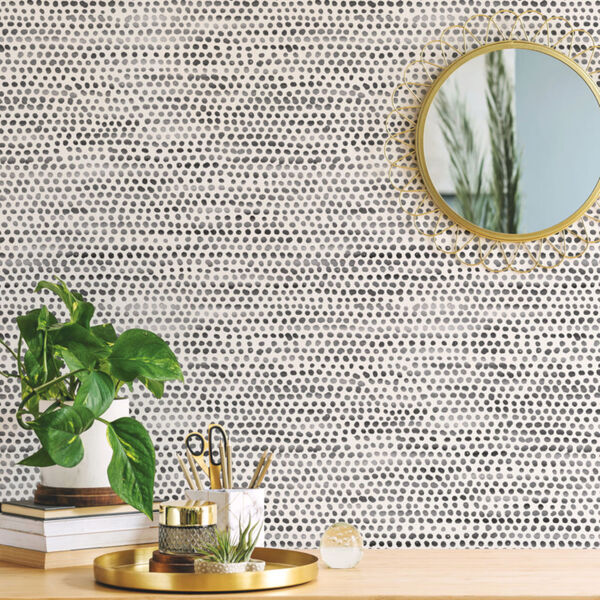 Moire Dots Black and White Peel and Stick Wallpaper, image 1