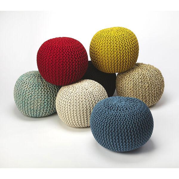 Pincushion Woolen Woven Round Pouf, image 4