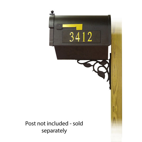 Curbside Black Mailbox Front and Side Address and Floral Front Single Mailbox Mounting Bracket, image 3